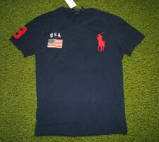 Men's $60 (M) POLO-RALPH LAUREN Navy USA FLAG & BIG PONY T-Shirt (Custom Fit)