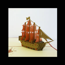 3D Pirate Ship Pop up Greeting Card High Quality Popup Card, Pop up Cards