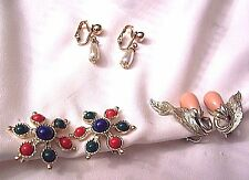 3 pr EARRING LOT SARAH COVENTRY BITTERSWEET CARNIVAL ONE N ONLY PEARLS VINTAGE