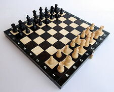 BRAND NEW HANDCRAFTED MAGNETIC TRAVEL WOODEN CHESS SET 27cm