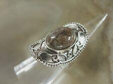 Ovaler Fingerring m.ovalen braunen Jaspis Edelstein Ring verstellbar von17-20 mm