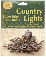 Country Primitive Rice Seed Mini Clear White Strand Lights 50 Count Brown Cord