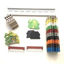 Any Color DIN Rail Terminal Block Kit Dinkle 20 DK4N 10AWG 30A 600V Gnd Jumper