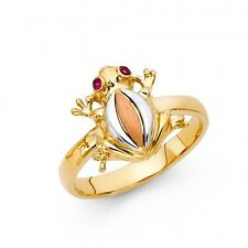 EJLRG1699 - Solid 14K tricolor gold frog ring
