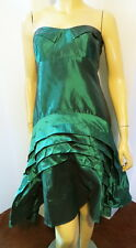 NWT $465 NICOLE MILLER Gold Label Green Tiered Hi Lo Sharkbite Party Dress 6