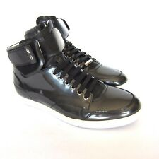 S-117250 New Dior Black/Gray Leather HiTop B01 Sneaker Shoes Size US-9/EUR-42