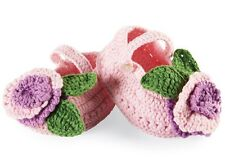 New Mud Pie CROCHET BOOTIES Hand Made Size 0-6 Months Pink Baby Girls
