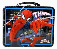 Marvel SpiderMan Metal Tin Lunch Box Carry All Storage Gift Bag NEW
