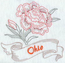 STATE OF OHIO FLOWER FLORAL REDWORK MACHINE EMBROIDERED QUILT BLOCK (HP)