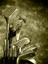 ART PRINT POSTER SPORT PHOTO WELL USED WORN GOLF CLUBS SEPIA LFMP0777