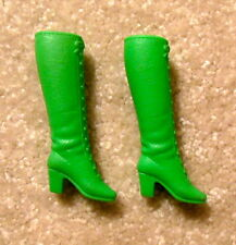 VINTAGE 1970s BARBIE FRANCIE MOD STYLE CLOTHES PAIR OF SOFT LACE UP GREEN BOOTS