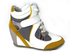 WOMENS LADIES WEDGE TRAINERS HIGH TOPS CONCEALED HEEL ANKLE BOOTS SHOES SIZE 3-8