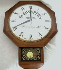 """VINTAGE ADVERTISING SCHWEPPES AD UNITED ELECTRIC WALNUT MAN CAVE 12"""" WALL CLOCK"""