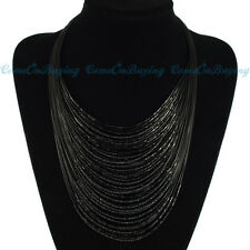 Fashion Handmade Multilayer Black Resin Glass Seed Beads Pendant Bib Necklace