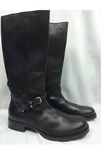 """PRADA BLACK LEATHER 17"""" TALL BIKER MOTORCYCLE BOOT ANKLE STRAP BUCKLE 11.5 US 12"""
