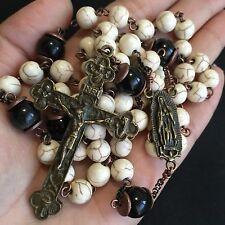 White Turquoise Black Obsidian beads Catholic Rosary Crucifix  Cross Necklace