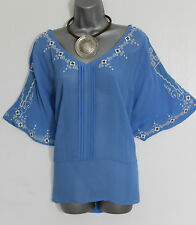 *MONSOON*Blue Embellished V-Neck Kimono Sleeve Casual Shirt Top sz-12  M