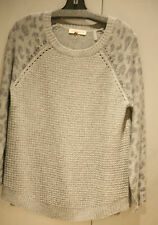 NWT Rebecca Taylor Scoop Neck Gray Leopard Print on Sleeve Sweater sz L FS