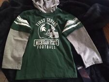 Michigan State First String Football Hooded Knit Shirt Green Gray Size 4T - NWT