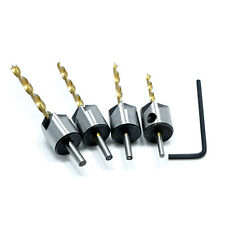4pcs 3/4/5/6mm HSS 4241 Flute Countersink Drill Bit Set Woodworking Chamfer