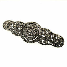 Marcasite Bar Pin Vintage Sterling Silver Brooch Openwork Scrolls 925 Victoriana