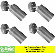 4 Pack x Stainless Steel Adjustable Exterior Wall Light 240V 5W GU10 LED