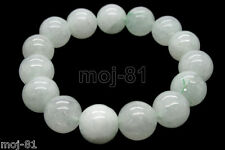 Beautiful 12mm 100% Natural White Jade Jadeit Round Beads Stretch Bracelet