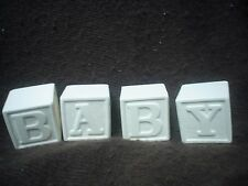 E067 - 4 Ceramic Bisque Baby Blocks - Letters B, A, Y & Teddy - Ready to Paint