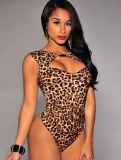 New leopard print cut out neckline teddy bodysuit lingerie leotard size M UK 10