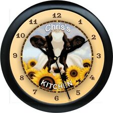 "Personalized Country Sunflower Cow 10.75"" Wall Clock Kitchen Gift"