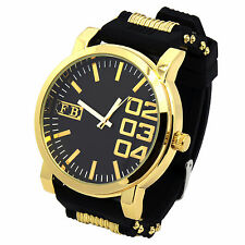 Mens Black Silicone Band Gold Metal Sport Hip Hop Fashion Quartz 0123 Watches