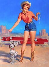 1940s Pin-Up Girl Cowgirl Roping the Dalmation Puppy Dog Poster Pin Up Vintage