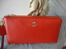 "~*NWT COACH Pebbled Leather Double Zip Wallet Wristlet Phone""CARMINE""53089"