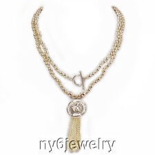 Beautiful Silver Tone Round Beads & Elizabeth II (faux) Coin Charm Necklace 34""