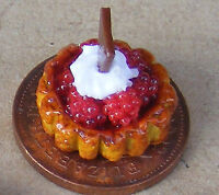 1:12 Raspberry Fruit Flan Tart Dolls House Miniature Food Cake Accessory LSb