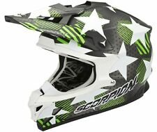 CASCHI CASCO HELMET CROSS MOTO KTM SCORPION VX 15 EVO AIR STADIUM NERO VERDE
