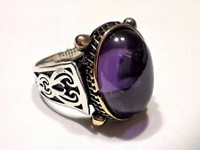 Turkish Ottoman  Amethyst Gemstone 925 Sterling Silver Men Ring Heavy Item 17 gr