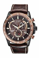 Citizen Eco-Drive Men's AT4006-06X Radio Controlled Chronograph Leather Watch