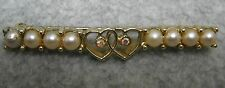 Sarah Coventry Brooch Pin Faux Pearl Rhinestones Double Heart Bar Vtg Signed