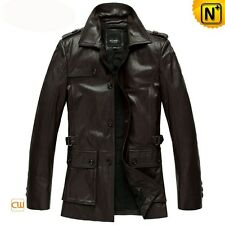 MEN LEATHER TRENCH JACKET GENUINE LAMBSKIN PURE LEATHER TRENCH LONG OVER COAT 6