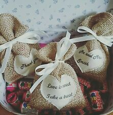 50 x personalised hessian wedding favour bags burlap small little jute