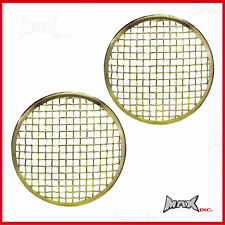 "Brass Chrome Mesh Headlight Covers - Jeep CJ5 / CJ7 with 7"" round driving lights"