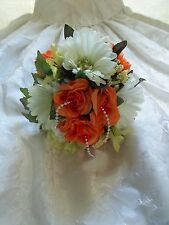 Wedding Bouquet Silk Orange Rose White Daisy Light Green Flowers Handmade