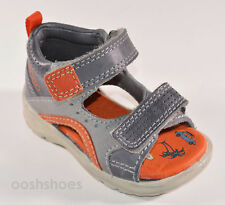 Ecco Hide & Seek Boys Grey Leather Sandals Velcro Straps UK 7 EU 24 US 8-8.5