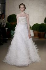 Oscar de la Renta Ostrich Feather Embroidered Wedding Gown Bridal Dress NWOT 8