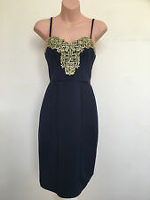 Michelle Keegan Lipsy Blue Gold Lace Bust Bodycon Party/Xmas Dress Size 8