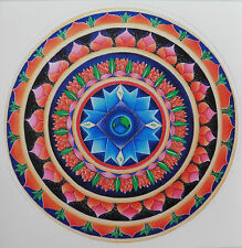 Beautiful Colourful Round Lotus Earth Mandala Sticker One Sided 10cm