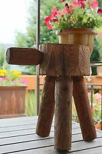 Antique Primitive 3 Legged Milking Stool with Handle