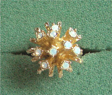 "Gold Tone Ring with Iridescent Stones ""GALAXY"" Sarah Coventry Jewelry - Vtg"