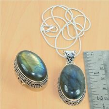 WHOLESALE 2PC MIX 925 SILVER PLATED LABRADORITE PENDANT WITH CHAIN,RING LOT